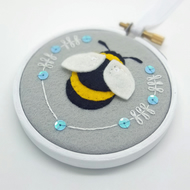 "Bumble Bee Embroidery Textile Art 3"" Hoop Art in Silver Grey"