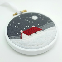 Winter Cottage Red Roof Embroidery Hoop Art Textile Art Snowy Landscape