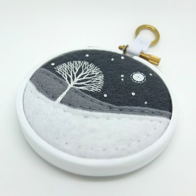 Winter Landscape: Tree & Snow Embroidery Textile Hoop Art FREE UK POSTAGE