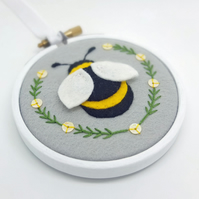 "Bumble Bee Textile Art in 3"" Embroidery Hoop (Silver Grey)"