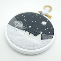 Winter Landscape with Cottage & Tree Embroidery Hoop Textile Art FREE UK POSTAGE