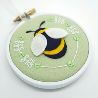 "Pistachio Bumble Bee Embroidery Textile Art 3"" Hoop Art - FREE UK POSTAGE"
