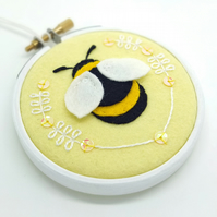 Bumble Bee Embroidery Hoop Art in Lemon Textile Art Stitched in Scotland