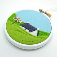 Spring Cottage Embroidery Hoop Textile Art - FREE UK POSTAGE