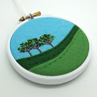 "Hand-embroidered Summer Landscape with Three Trees Textile Art in 3"" Wooden Hoop"