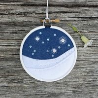 "Starry Skies 3"" Hoop Art Embroidery Textile Art"