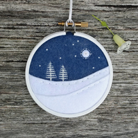 Winter Trees White Embroidery Hoop Art Textile Art