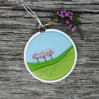 Spring Landscape with Trees and Pink Blossom Embroidery Hoop Art Textile Art