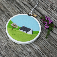 Spring Cottage with Blossom Tree Hand Embroidery Hoop Art Textile Art