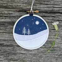 Winter Trees (White Firs) Embroidery Hoop Art Textile Art