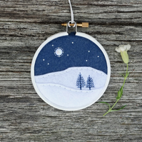 Winter Trees (Blue Firs) Embroidery Hoop Art Textile Art