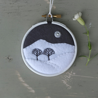 "Winter Skies IV: Hills & Trees Embroidery - Hoop Art - Textile Art (3"" Hoop)"