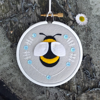 Winter Bee in Silver Grey Embroidery Hoop Art Textile Art