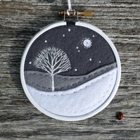 Winter Greys Monochrome Tree Embroidery Hoop Art Textile Art