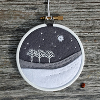 Winter Greys Monochrome Three Trees Embroidery Hoop Art Textile Art