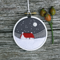 Winter Greys Cottage with Red Roof Embroidery Hoop Art Textile Art