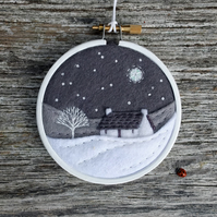 Winter Greys Monochrome Cottage Embroidery Hoop Art Textile Art