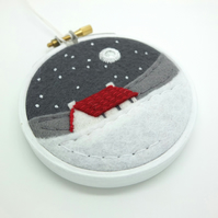 Winter Cottage with Red Roof and Snow (A) Embroidery Hoop Textile Art