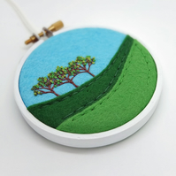 Summer Landscape with Three Trees Scottish Textile Art Embroidery Hoop Art