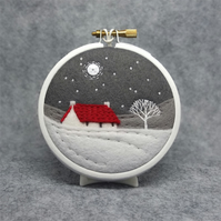 Scottish Red Roofed Cottage with Tree Embroidery Hoop Art Textile Art Scotland