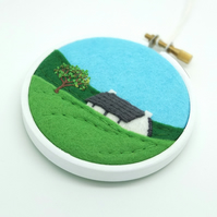 Summer Landscape with Cottage Scottish Textile Art Embroidery Hoop Art