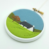 Autumn Landscape with Crofter's Cottage Scottish Textile Art Embroidery Hoop Art