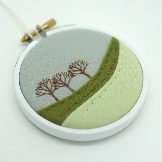 Winter Landscape with Three Trees Embroidery Hoop Art Scottish Textile Art