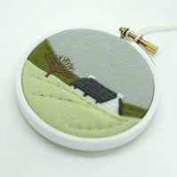 Winter Landscape with Crofters Cottage Scottish Embroidery Hoop Art Textile Art