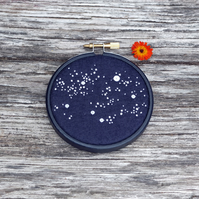 'Celeste' Starry Night Sky Celestial Embroidery Hoop Art Stitched in Scotland