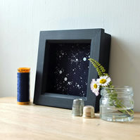 'Celeste' Starry Night Sky Embroidered Textile Art (Framed) Stitched in Scotland