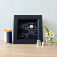 'Ayla' Misty Moon Night Sky Hand-Embroidered Textile Art (Framed)