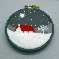 Scottish Red Roofed Cottage with Tree  Embroidery Art Textile Art (Grey Hoop)