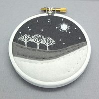 Scottish Winter Landscape with 3 Trees Hand-Embroidered Textile Art (White Hoop)