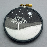 Scottish Winter Landscape with Tree Hand-Embroidered Art Textile Art (Grey Hoop)