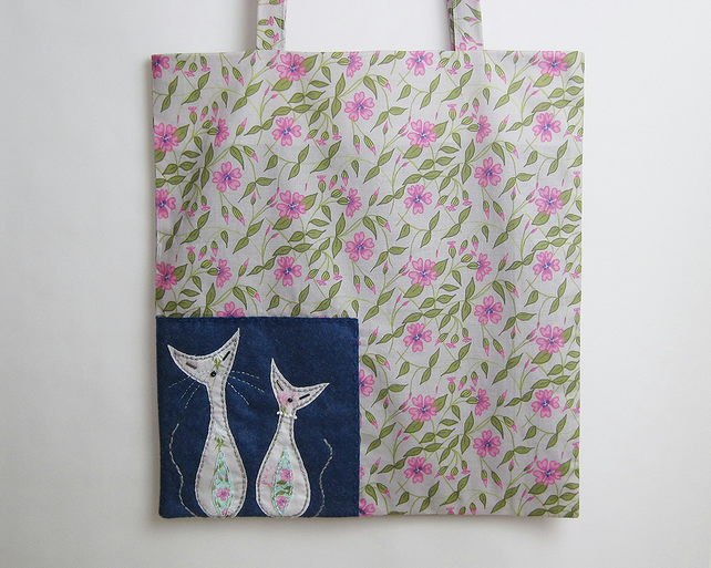 Grey campion print lined tote bag with hand appliquéd mid century cats