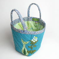 Turquoise wool felt bag with cat and cat nip embroidery