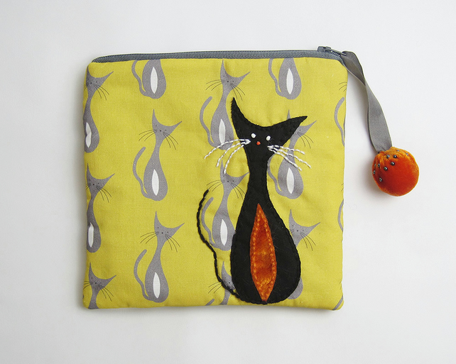 Mustard and grey make up bag with mid century cat print and appliqué