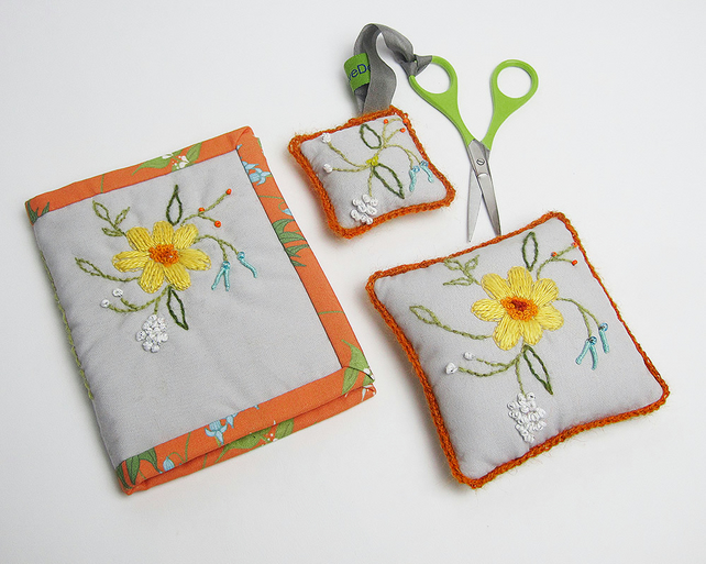 Grey  needle case, pin cushion and scissor keeper with embroidery, set of three