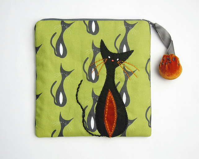 Green and grey make up bag with mid century cat print and appliqué