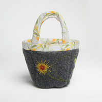 Tiny charcoal  bag for fiddly little projects with hand embroidered marigold