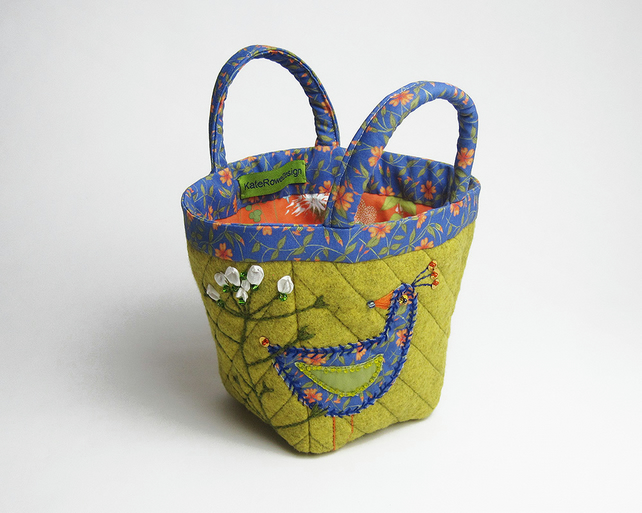 Mustard bijou project bag with bird and flower embroidery