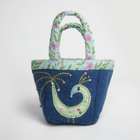 Tiny denim wool felt bag with bird appliqué