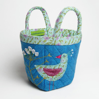 Turquoise bijou project bag with bird and flower embroidery