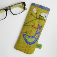 Mustard glasses case with bird and flower embroidery