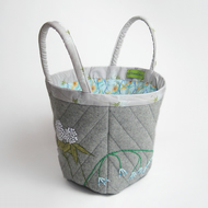 Grey wool project bag with clover and bluebell embroidery