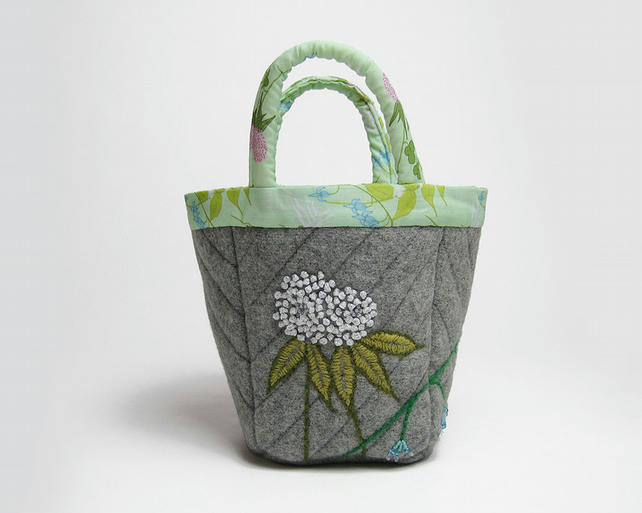 Grey wool coating bijou project bag with clover and bluebell embroidery