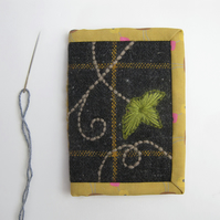 Needle case with ivy embroidery