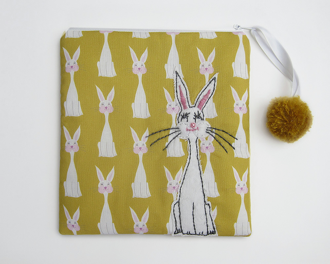 Mustard make up bag with rabbit print and rabbit appliqué