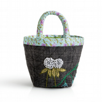 Grey check bijou project bag with clover and bluebell embroidery
