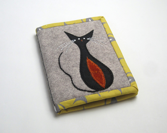 Notebook with mid-century cat appliqué